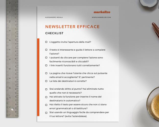 Checklist Newsletter Efficace - Markelize Web Marketing Agency